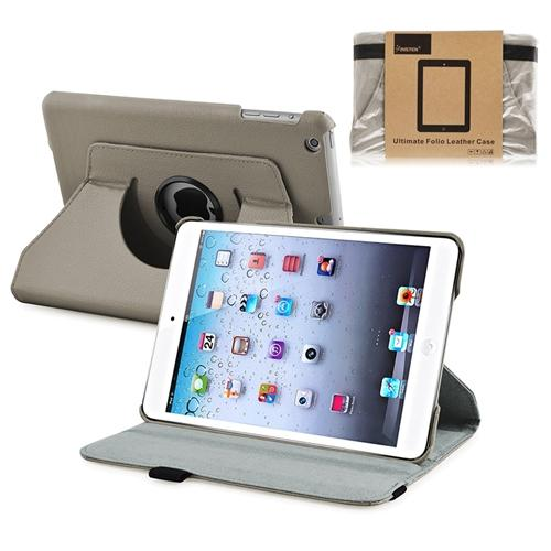 iPad Mini 3/2/1 Case, by INSTEN Leather Rotating Stand Case for Apple iPad Mini 3rd 2nd 1st Grey (Supports Sleep mode)