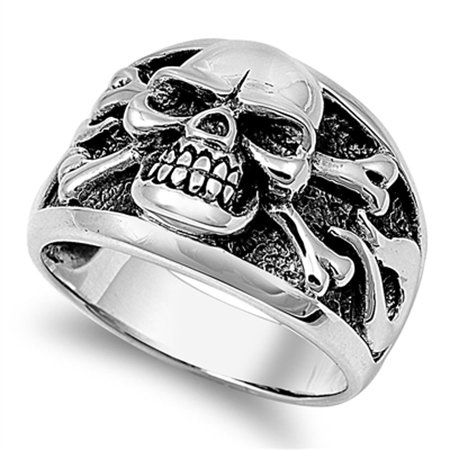 Men's Biker Skull Crossbones Polished Ring ( Sizes 7 8 9 10 11 12 13 14 ) .925 Sterling Silver Band Rings (Size - Mens Skull Rings