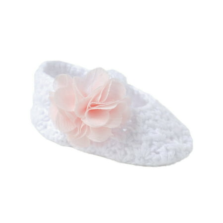 Baby Deer Girls White Pink Flower Overlay Crochet Soft Sole Skimmers 0 Baby Crocheted Baby Shoes