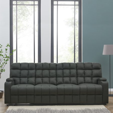 Oliver James Saskia Grey Microfiber 4 Seat Recliner Sofa
