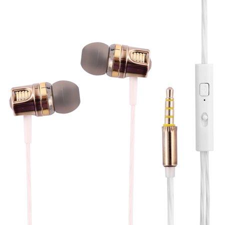 Sport Plastic 3.5mm Male Thin Cord Deep Bass Earphone 1.2M Long Gold (Earphones Long Cord)