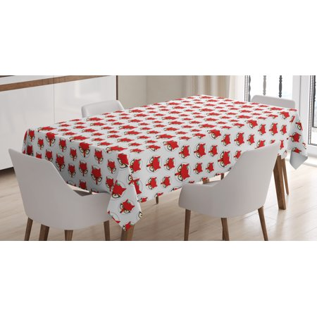 Fox Tablecloth, Cartoon Hipster Red Lady Fox with Glasses and Buckle inside a Circle of Dots, Rectangular Table Cover for Dining Room Kitchen, 52 X 70 Inches, Mint Green Beige Red, by Ambesonne - Grass Table Cover