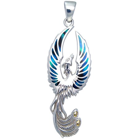 Sterling Silver Flying Phoenix Fire Bird Pendant with Paua Shell (Green Paua Shell)