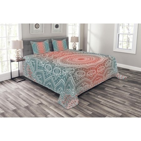 Coral And Teal Bedspread Set Modern Tribal Mandala Tibetan Healing Motif With Floral Geometric Ombre Art Decorative Quilted Coverlet Set With Pillow