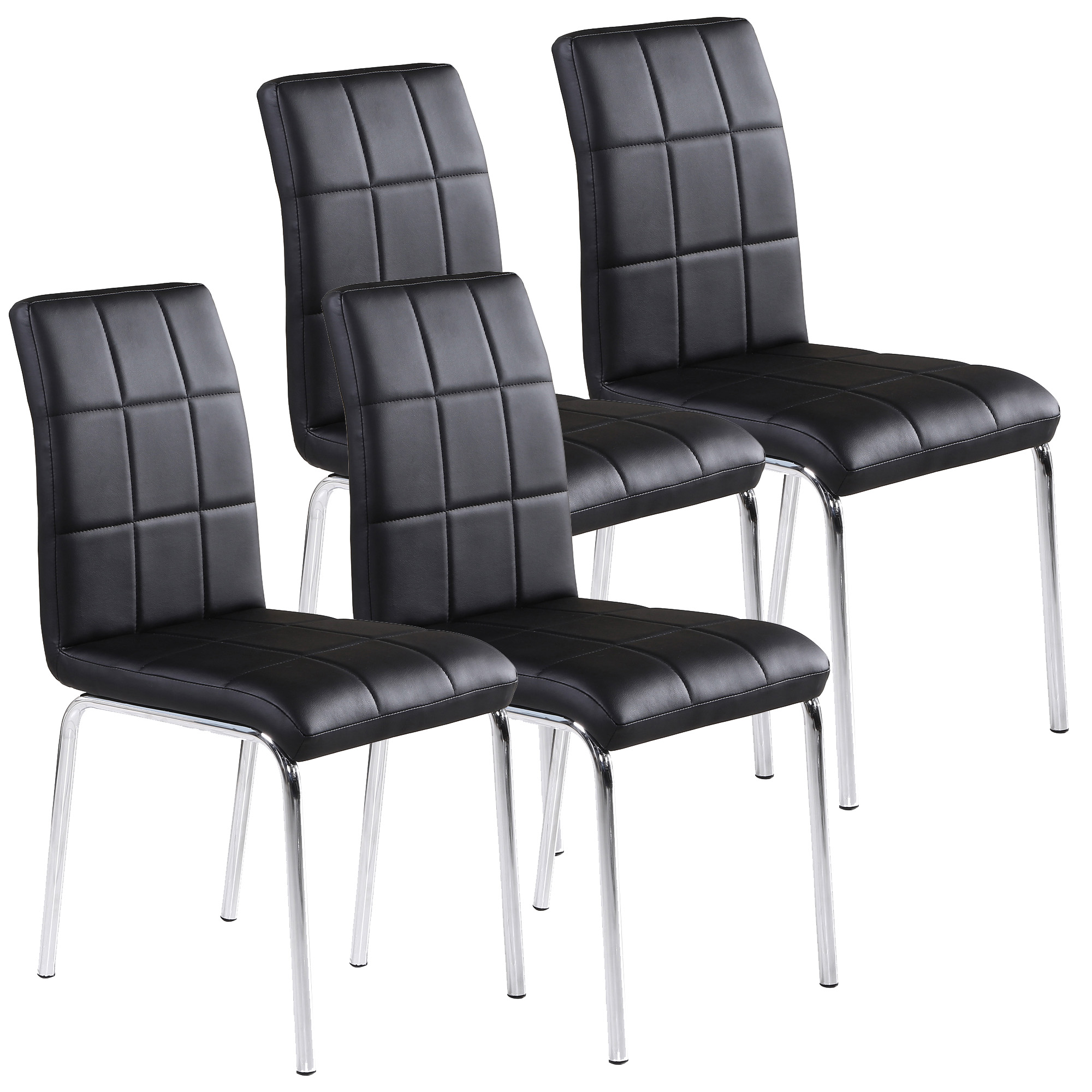 Faux Leather/Chrome Side Chair, White (set of 4)