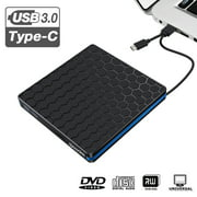 External DVD Drive, USB 3.0 Type C CD Drive, Dual Port DVD-RW Player, Portable Optical Burner Writer Rewriter, High Speed Data Transfer for Desktop PC MA OS Windows 7/8/10