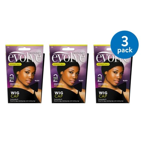 (3 Pack) Firstline Evolve Wig Cap Black - 2 PK, 2.0 PACK](Black Wig Cap)
