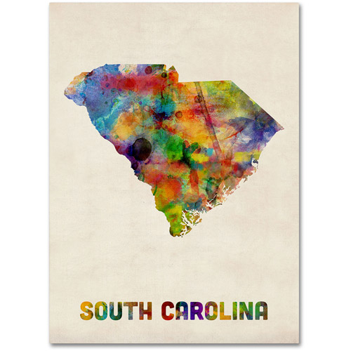 "Trademark Fine Art ""South Carolina Map"" Canvas Wall Art by Michael Tompsett"
