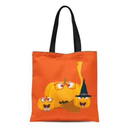 SIDONKU Canvas Tote Bag Halloween Pumpkins Mascots Squash Family Faces Witch Broom Durable Reusable Shopping Shoulder Grocery Bag - Squash Halloween Carving