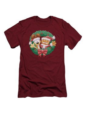 Garfield Christmas Wreath Comic Adult Slim T-Shirt Tee