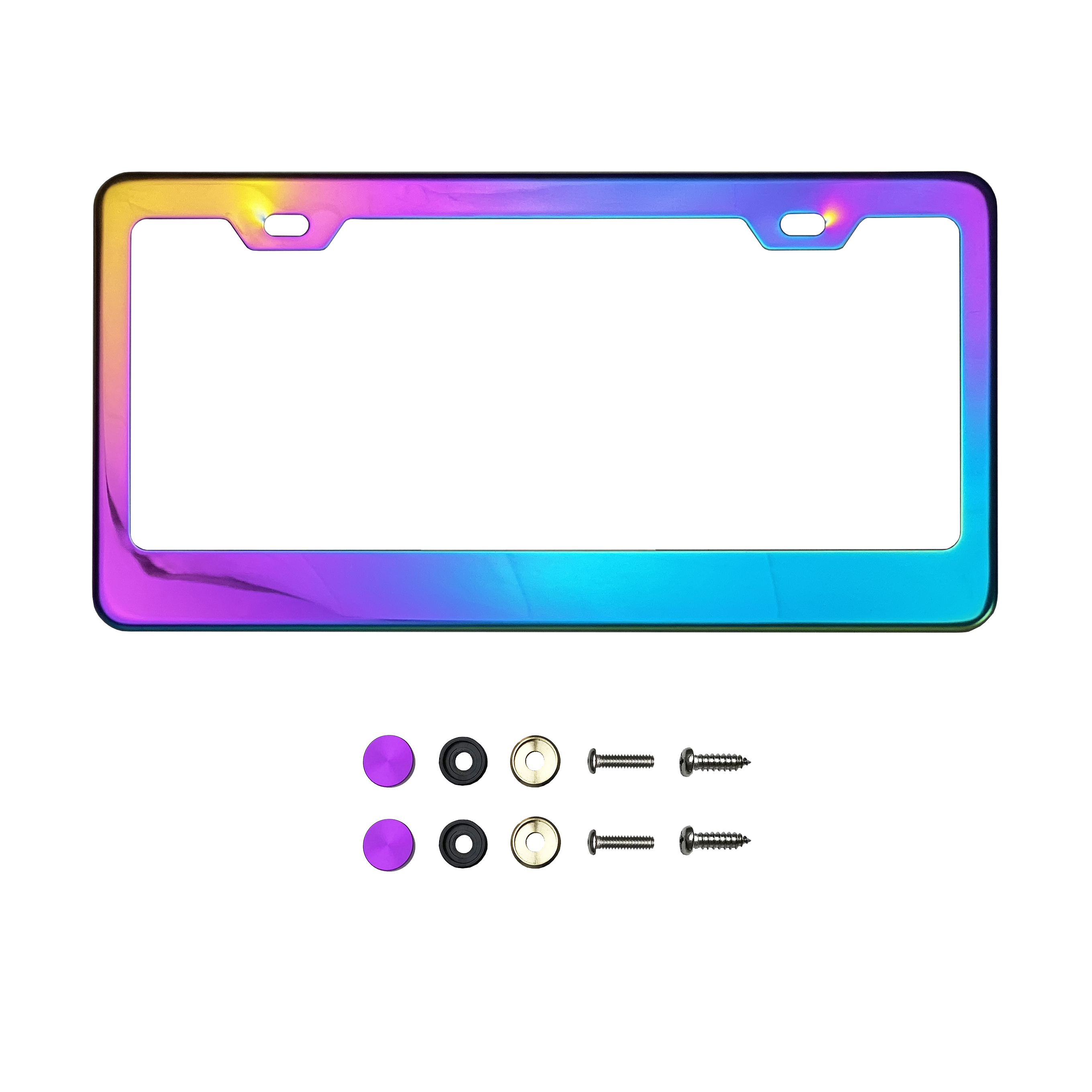 Metal Screw Caps KA Depot Purple Chrome Mirror License Plate Frame T304 Stainless Steel