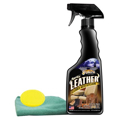 Gliptone Leather Cleaner Spray (17 oz) Bundled with Microfiber Cloth & Foam Pad (3 Items) (Leather Master Foam Cleaner)