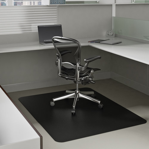 """Deflecto 46"""" x 60"""" EconoMat Occasional-Use Chair Mat for Low Pile Carpet, Black"""