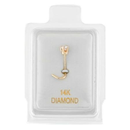 14K Yellow Gold 1.3mm .01 cttw Diamond Nose Ring Curve Stud Twist Screw -