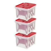 IRIS USA, Light Storage Box with 4-Light Wraps, 3 Pack, Red