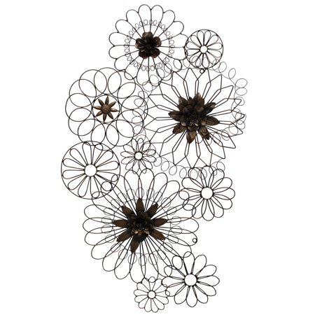 Floral Metal Circles Wall Décor - Iron