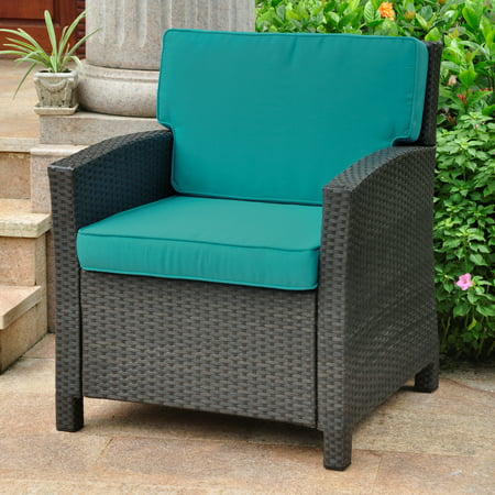 International Caravan Valencia Resin Wicker/ Steel Contemporary Deep Seat Armchair with Cushions