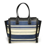 Chloe Alison Medium Shopper Tote Leather Handbag - Blue and White