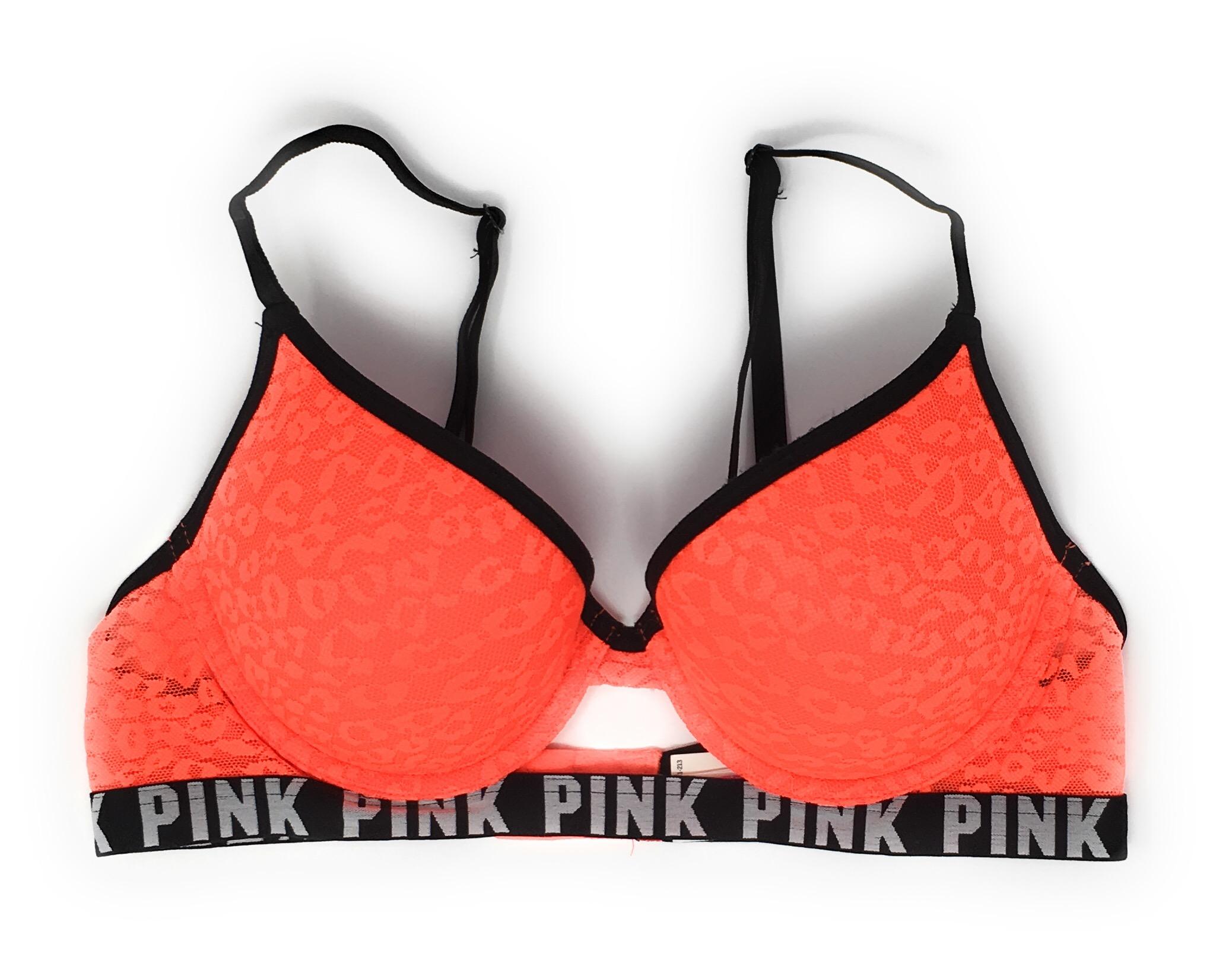 Victorias Secret Pink Strappy Back Leopard Lace Push-up Bra 32D Black