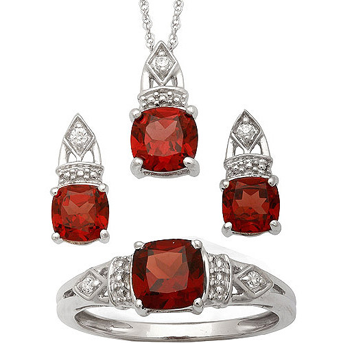 3.84 Carat T.G.W. Garnet and CZ Sterling Silver Cushion-Cut Pendant, Earrings and Ring Set