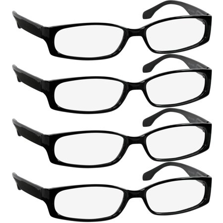 Reading Glasses | Best 4 Pack of Readers Women and Men | Stylish Look and Crystal Clear Vision When You Need It! | Comfort Spring Arms & Dura-Tight Screws (Crystal Readers Reading Glasses)
