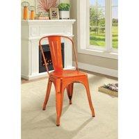 Benzara Set of Two Metal Dining Side Chairs, Glossy Orange
