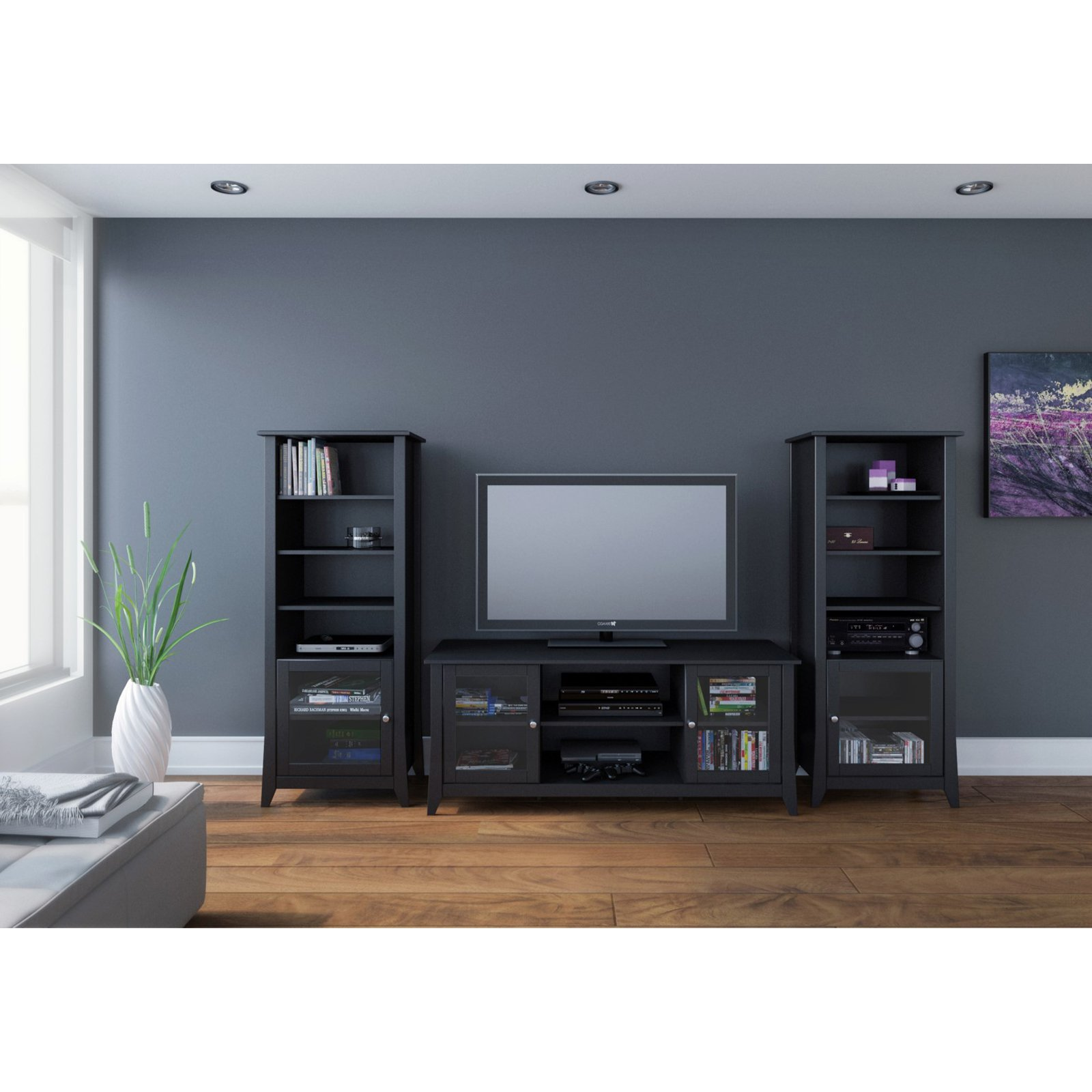 Megalak Finition Tuxedo 58 in. TV Console with Curio Cabinet Piers - Black