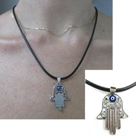 - Evil Eye Hamsa Hand of God Fatima Necklace Charm Pendant Jewish Judaica Kabbalah