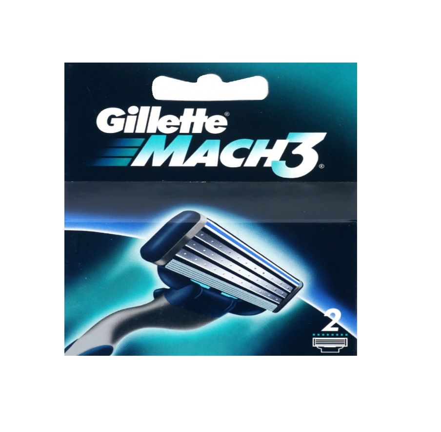 Gillette Mach3 Refill Razor Blade Cartridges, 2 Count + FREE Eyebrow Trimmer