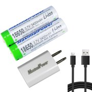 MaximalPower (18650 3.7V 3400mAh Protected Li-ion Rechargeable Battery 2X + USB Cable + USB Adapter