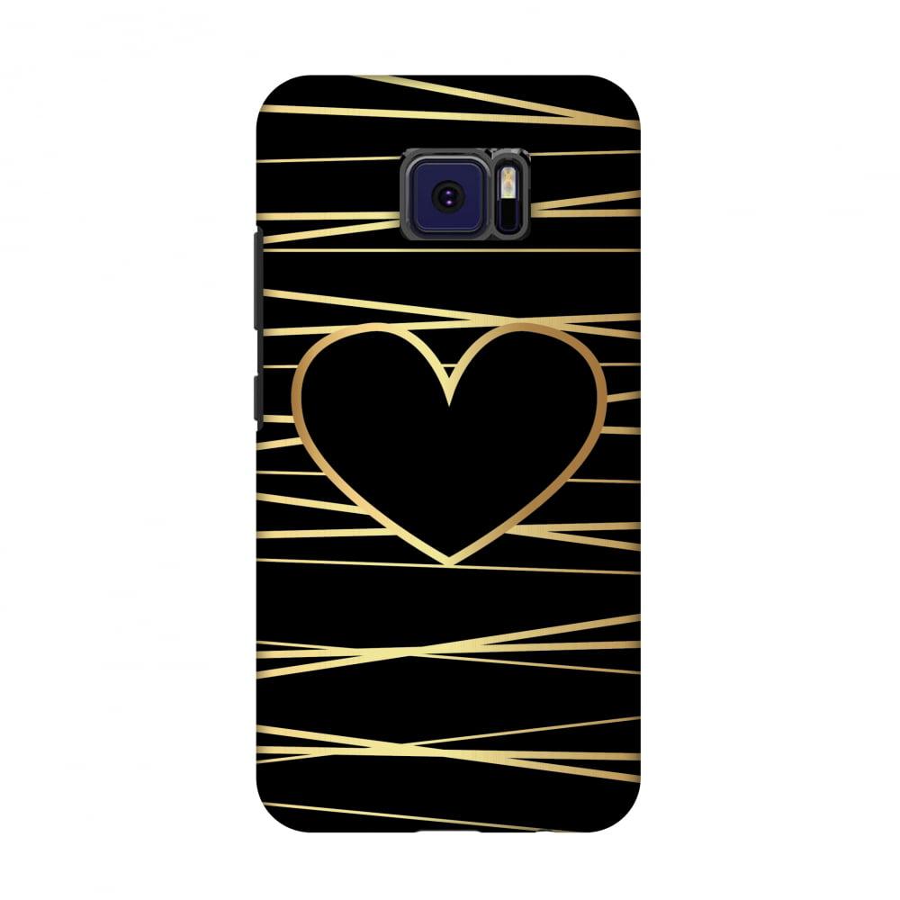 Asus ZenFone V V520KL Case - Golden Heart Ribbon, Hard Plastic Back Cover, Slim Profile Cute Printed Designer Snap on Case with Screen Cleaning Kit