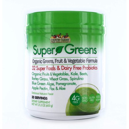 Country Farms Super Greens Drink Mix, 32 Super Foods & Dairy Free Probiotics, Natural Flavor, 30 Servings