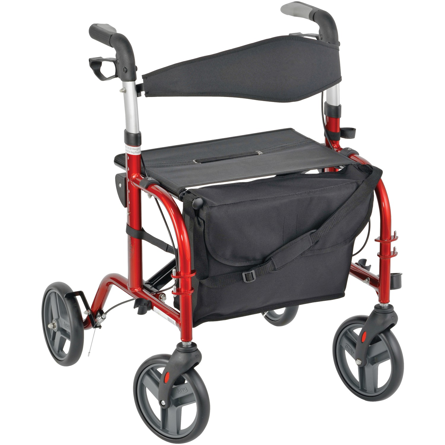 Juvo Products TCH101 Comfort Series Premium Rollator-Transport Chair (Cherry Red)