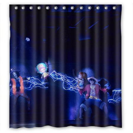 Ganma Anime One Piece Luffy Cartoon Shower Curtain Polyester Fabric Bathroom 60x72 Inches