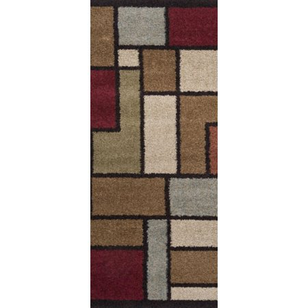2.6' x 7.25' Contemporary Geometric Earth Toned and Burgundy Block Area Runner