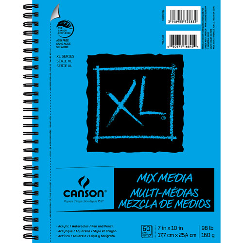 """Canson XL Mix Media 7"""" x 10"""" 60-Sheet Side Wire Bound Paper Pad"""