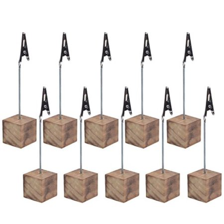 Wood Memo Holder (Cosmos® 10 Pcs Lightweight Cube Base Memo Clips Holder with Alligator Clip Clasp for Displaying Number Cards (Wooden Base))