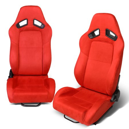 - Universal Left / Right Side Red Synththetic Suede Reclinable Racing Seats + Adjustable Slider