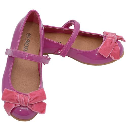 Berry Pink Strappy Bow Knot Accented Ballerina Flats 5 Toddler