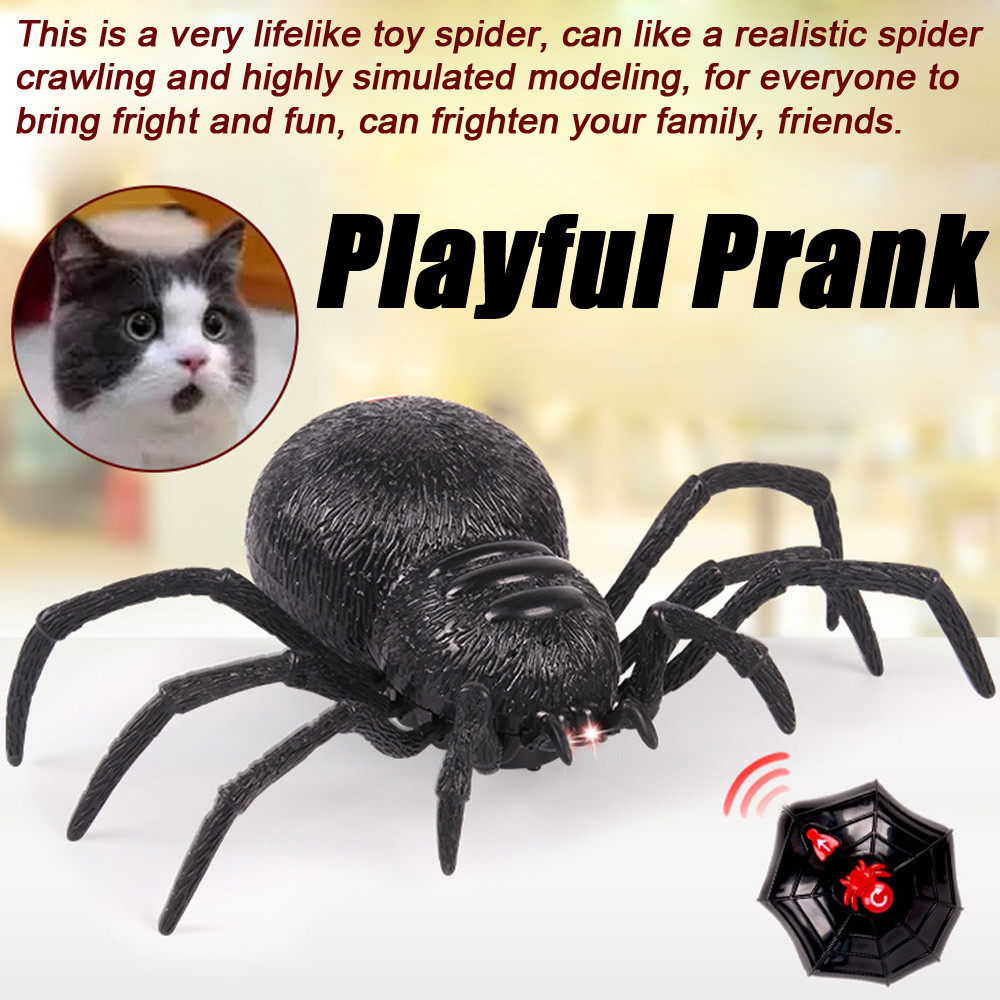 Mosunx Remote Control Spider Scary Wolf Spider Robot Realistic Novelty Prank Toys Gifts