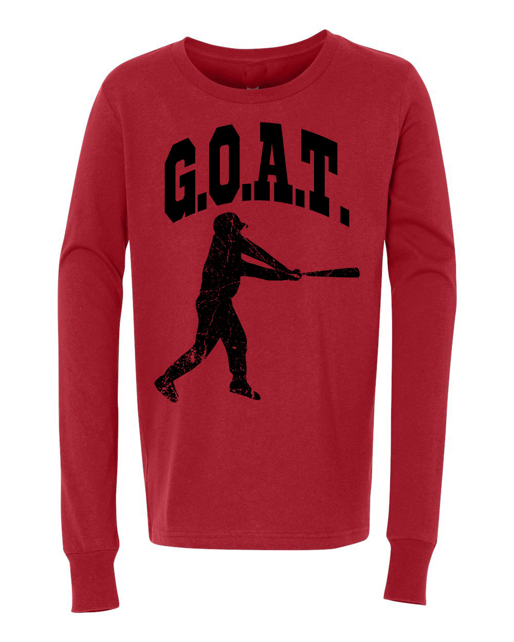 Greatest Of All Times G.O.A.T Baseball Youth Long Sleeve T-Shirt