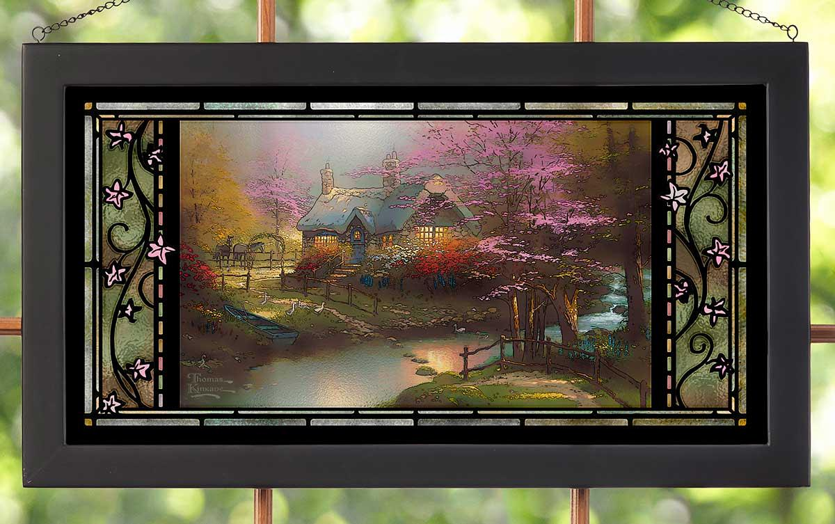 Thomas Kinkade Stepping Stone Cottage Stained Glass Art by Wild Wings