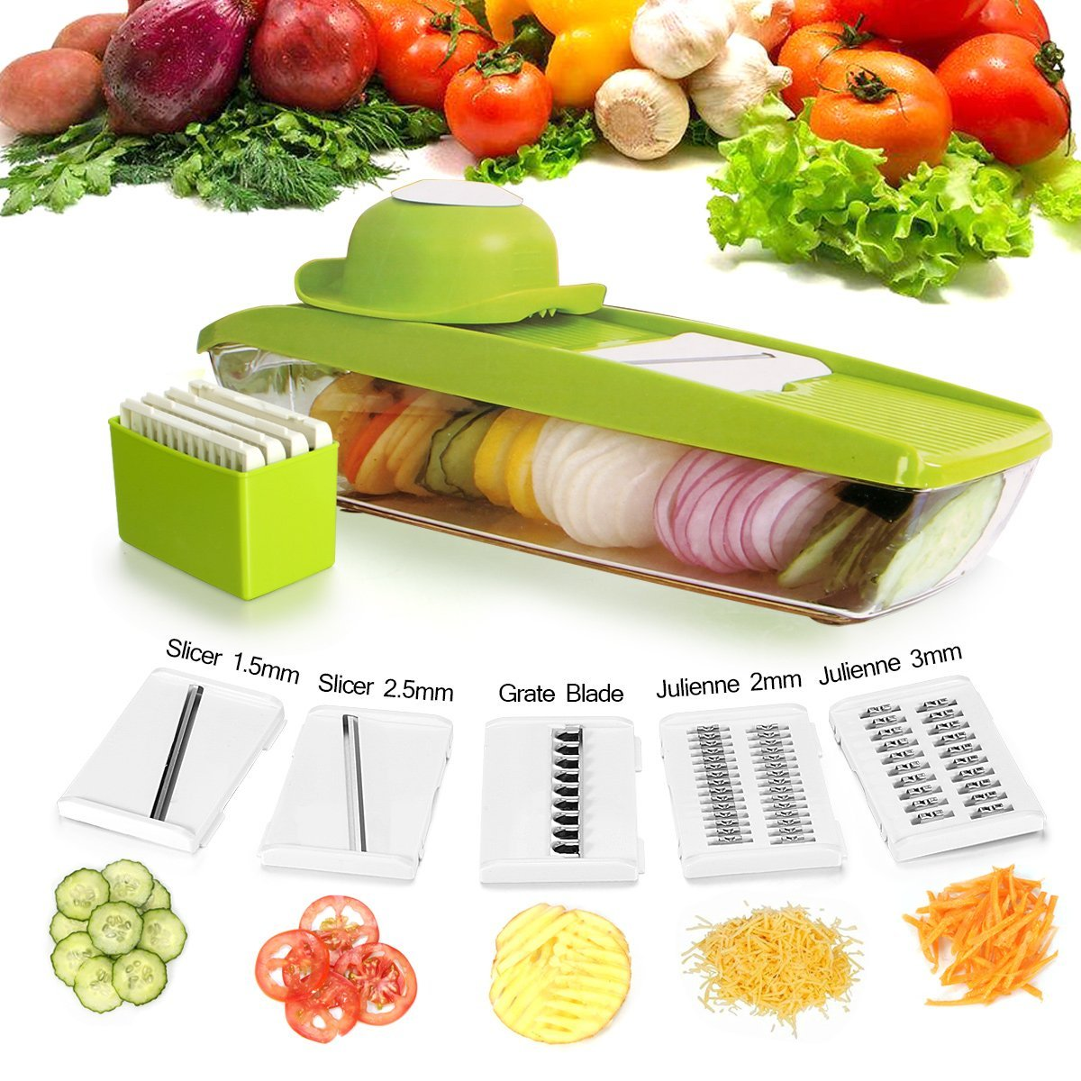 Vegetable Mandoline Slicer, Peeler, Potato Slicer - Vegetable Grater Cutter for Cucumber, Onion, Cheese with 5 Stainless Steel Blades, Vegetable Slicer Chopper- The Best Choice for Family & Kitchen