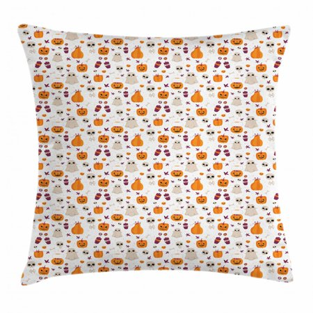 Ghost Throw Pillow Cushion Cover, Cartoon Pattern of Pumpkin Ghost Skull and Other Elements Inspired by Halloween Party, Decorative Square Accent Pillow Case, 18 X 18 Inches, Multicolor, by Ambesonne](Halloween Cartoon Artwork)