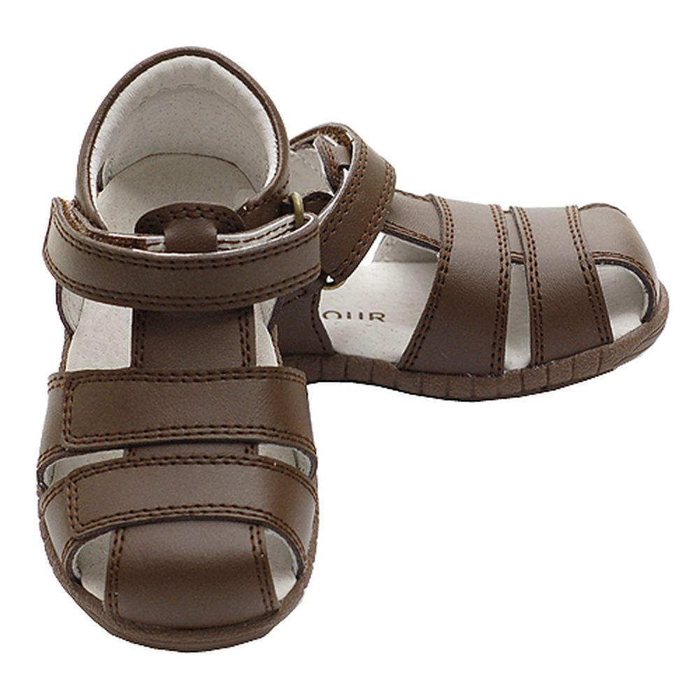 Brown Fisherman Style Velcro Closed Heel Sandals Little Boys 4-1