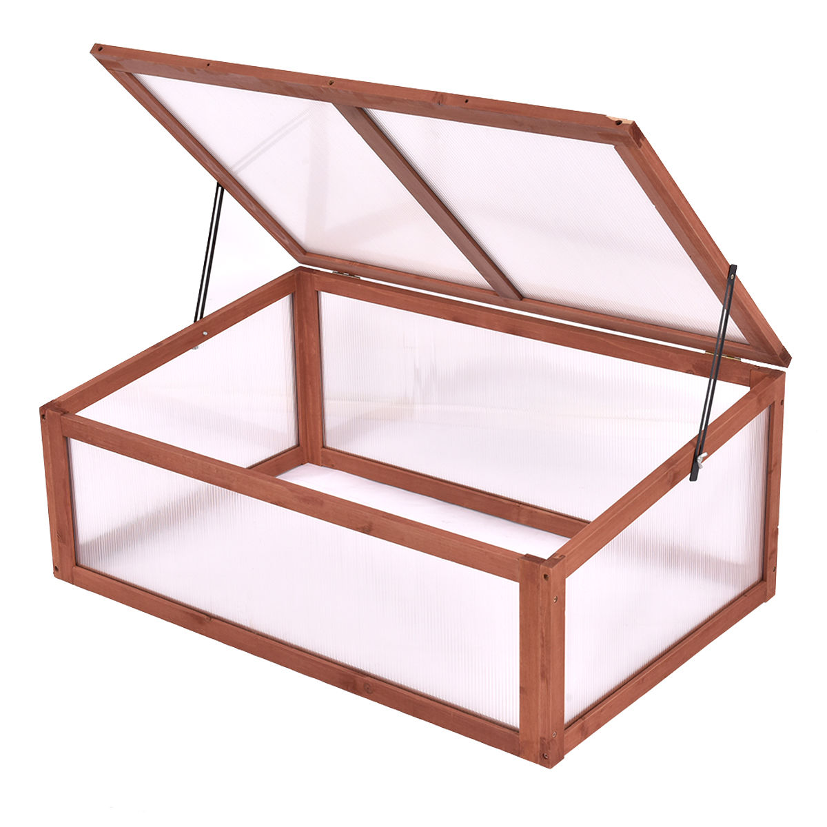 "GHP Outdoor 39.3""Lx24.8""Wx15.1""H Portable Solid Fir Wooden & PB Board Greenhouse"