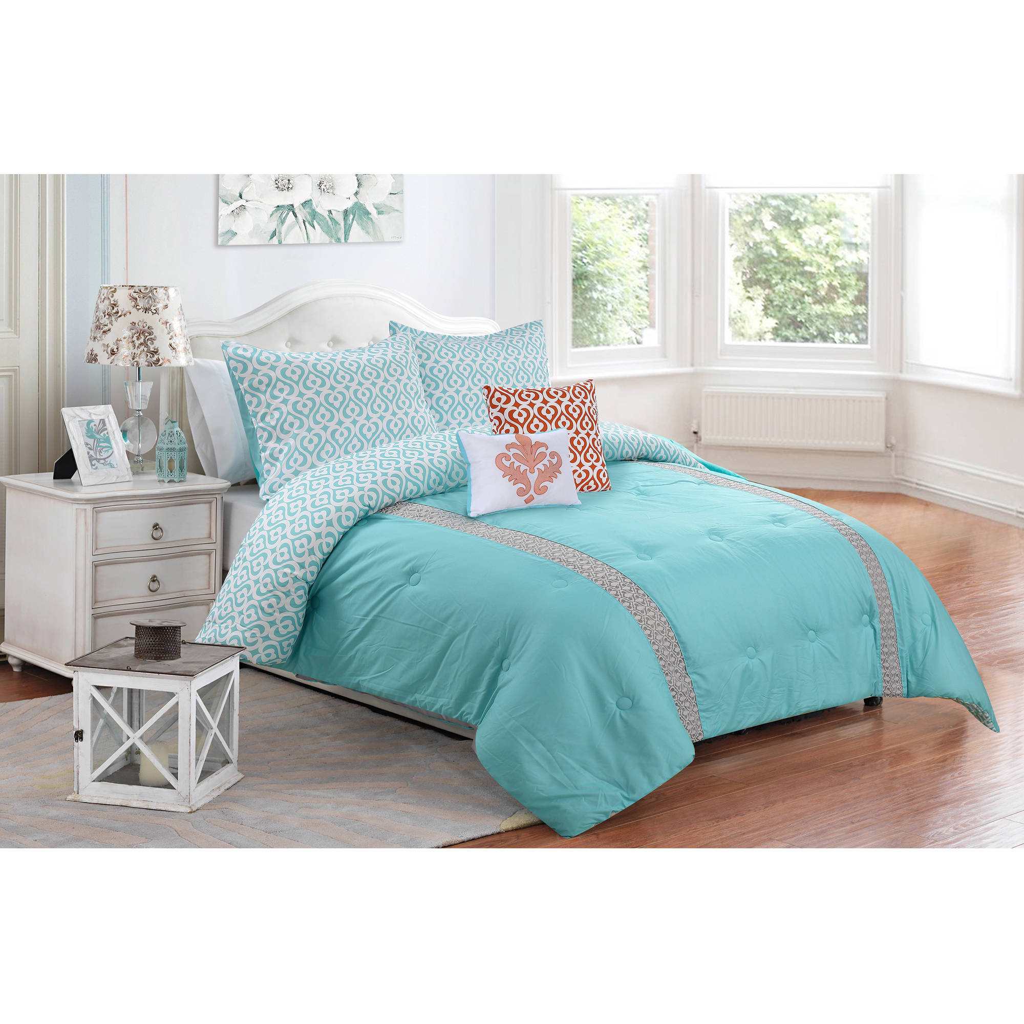 Better Homes Gardens Reversible Teal Damask 5 Piece Comforter Set With Shams Decorative Pillows King Walmart Com Walmart Com