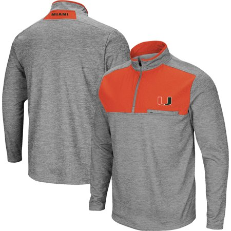 Miami Hurricanes Colosseum Alligators Are Ornery 1/4-Zip Fleece Jacket - Heathered Gray - Miami Dolphins Reversible Jacket