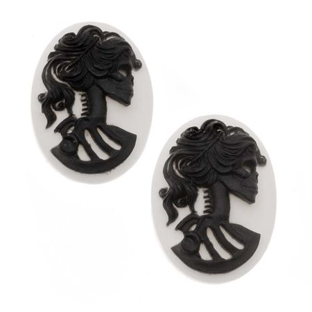 (Lucite Oval Cameo White With Black Lolita Skeleton 18x 25mm (2 Pieces))