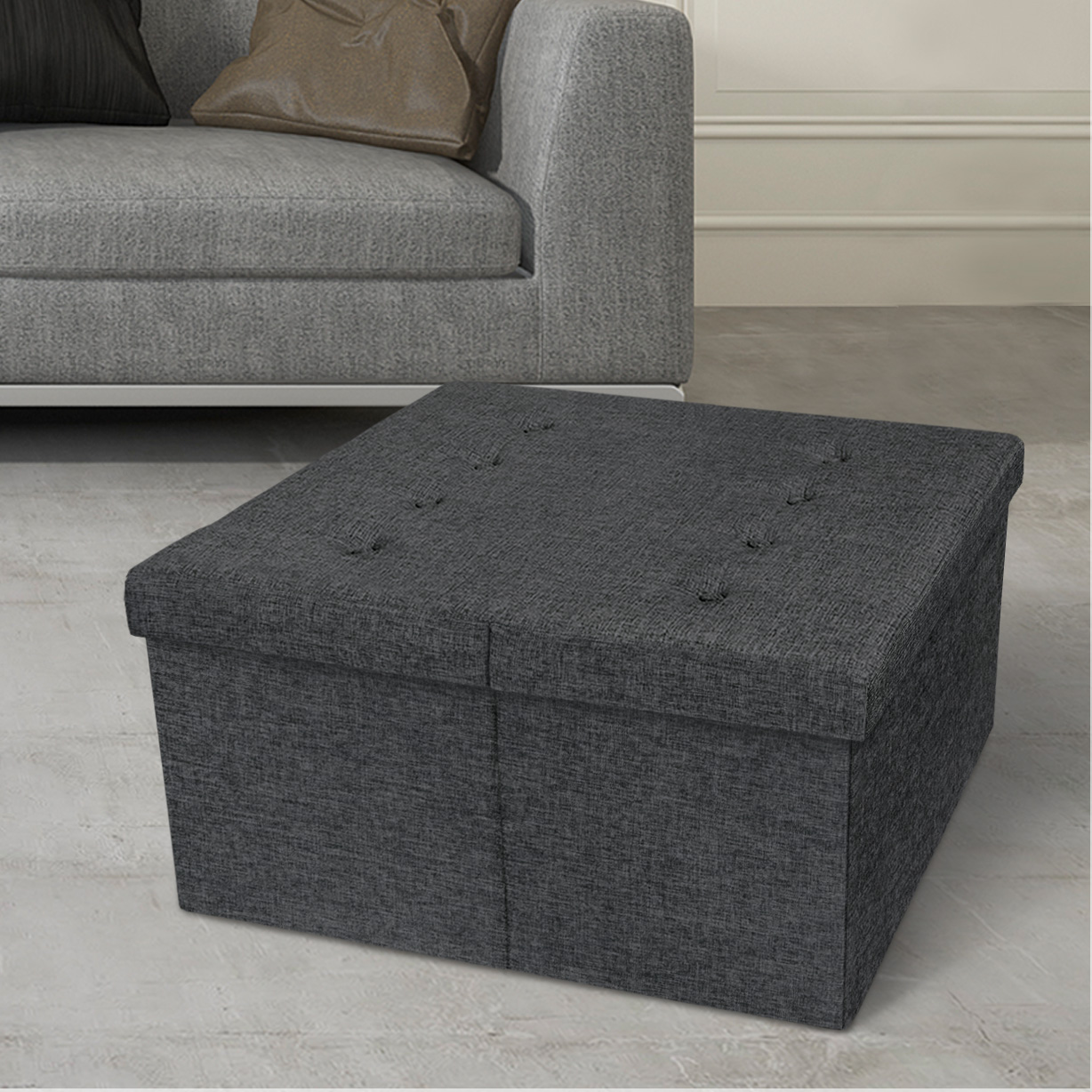 "Otto & Ben 30"" Storage Coffee Table with Smart Lift Top Tufted Folding Tweed Linen Trunk Ottomans Bench Foot Rest, Dark Gray"